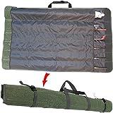 Da Jia Inc Roll Up Canvas Fishing Rod Case Organizer Travel Carry Bag