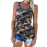 Brawdress Sommer Damen Rundkragen Camouflage Tanktop ärmellos Fitness Weste Tops