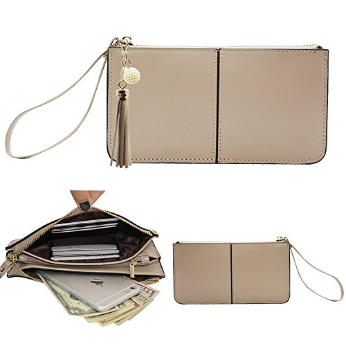 Befen pelle morbida Smartphone Zipper Wallet Organizer con il supporto della carta di credito / tasca contanti / Wristlet- [Fino a 6 x 3.1 * 0.3 pollici del cellulare] Black Luce di color kaki