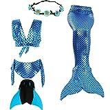UniDesign Meerjungfrau Flosse Zum Schwimmen Meerjungfrau Schwanz mit Flosse mit Bikini für Kinder Mädchen, 9-10 Jahre, blau, (Blue Mermaid)