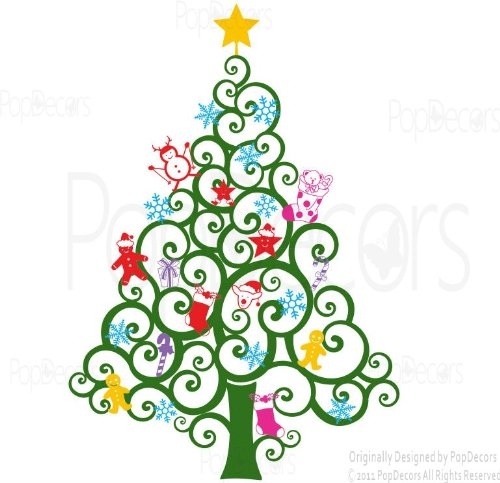 Preisvergleich Produktbild Pop Decors Stickers muraux sticker mural Arbre de Noël - Happy (149,9 cm H) - Vacances de Noël Sticker enfant LOVE Candy Grues mur universitaire.