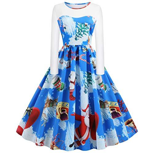 XINAINI Weihnachtskleid Damen - Pullover Rundhals Cocktailkleid - 1950er Vintage Elegant 3D Drucke Pullover Kleidung Weihnachtsmann Elch Schlitten Party Swing Festlich Kleid(S,Blau)