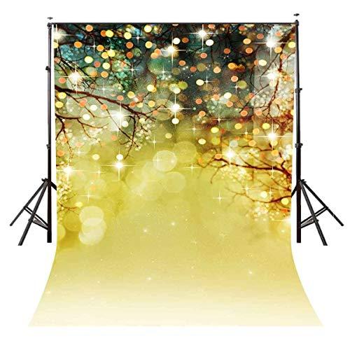 GzHQ 5X7ft Gold Glitzernde Lichtflecken Hintergrund Party Weihnachten Thema Bunte Fotografie Hintergrund für Foto Video Studio Requisiten LYLE026