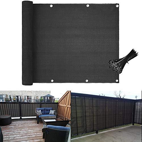 Balkon Sichtschutz UV-Schutz Datenschutzbildschirm blickdichte Balkonumspannung wetterbeständige Balkonbespannung Balkonverkleidung mit Ösen und Schwarzer Kabelbindern HDPE- 5 Meter (90x500cm) Grau