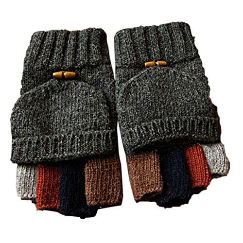 Butterme Uomini maglia di lana Cabrio Guanti senza dita Guanti Pugno guanto da guida con piega tasca posteriore (Grigio scuro)