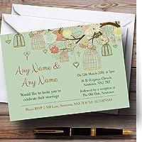 Vintage shabby chic Birdcage verde inviti per matrimoni,/invita & buste, Green, 50 Invites & Envelopes