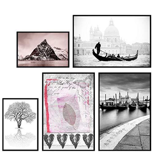 decomonkey | Poster 5er - Set mit schwarzem Rahmen schwarz-weiß Abstrakt Kunstdruck Wandbild Print Bilder Bilderrahmen Kunstposter Wandposter Posterset Venedig Boot Gebirge Schnee Baum Blatt