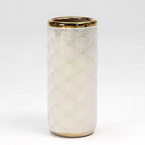 Tn Paragüero 20x20x47 Ceramica Blanco/Dorado