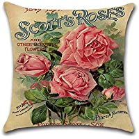 Decorativa almohada Vintage Rose flores primavera impresión Impreso Sofá Decoración Cojín Caso agarre Bar Funda de almohada cojín de móvil Salón Scotts Roses