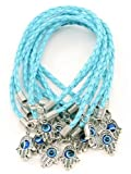 Lot - 10 HAMSA HAND Evil Eye Sky String Bracelets - Lucky Charm Pendant by Body-Soul-n-Spirit Bracelet