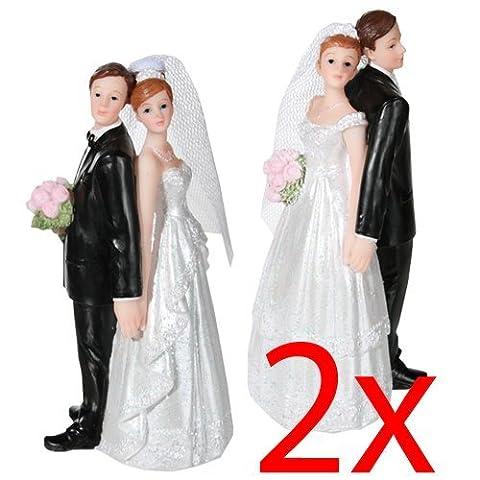 ROMANTIC WEDDING CAKE TOPPER FIGURE BRIDE GROOM COUPLE BRIDAL DECORATION SET NEW