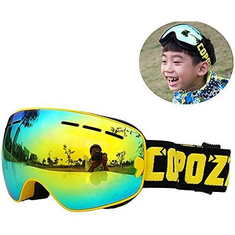 I bambini snowboard sci Googles antinebbia esterno di inverno Sport Multicolor Snowboard Occhiali per ragazzi ragazze, Giallo