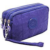 Fueerton Multifunction 3 Layers Zipper Key Card Phone Pouch Coin Money Bag Purse Wallet (Blue)