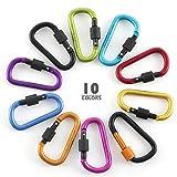ZWOOS Moschettone, 10 Colori Lega di Alluminio D-ring Moschettoni Clip per Casa, Camper, Campeggio, Pesca, Escursionismo, Viaggi e Portachiavi