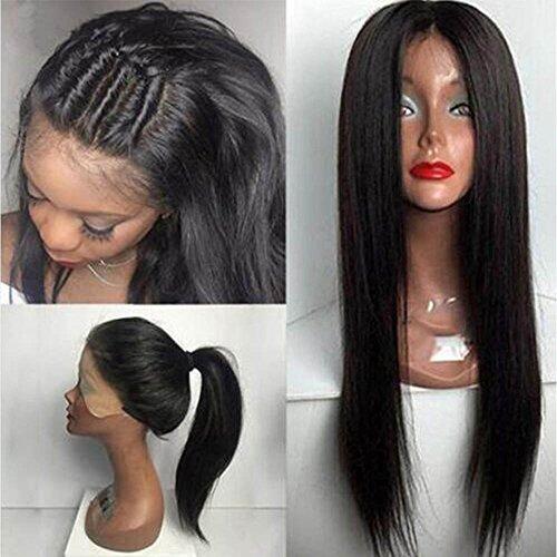 S-noilite® gerade Perücke aus 100% brasilianischem Echthaar mit feinen Haaren am Haaransatz, 25,4cm bis 55,9cm, natürliche schwarze Haarfarbe, (S Perücke)