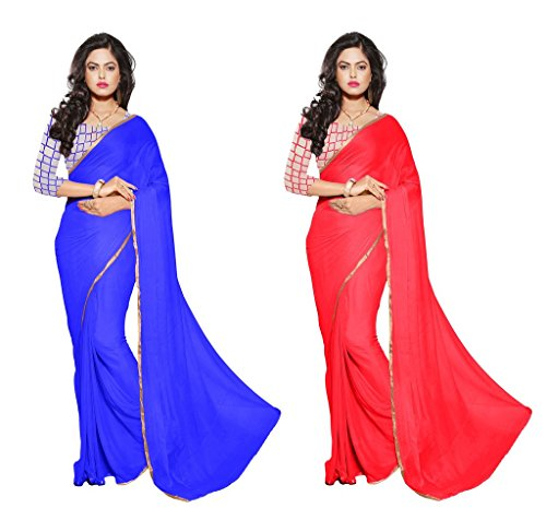 Reveka Combo Pack Of Blue & Red Plain Chiffon Sarees With Blouse