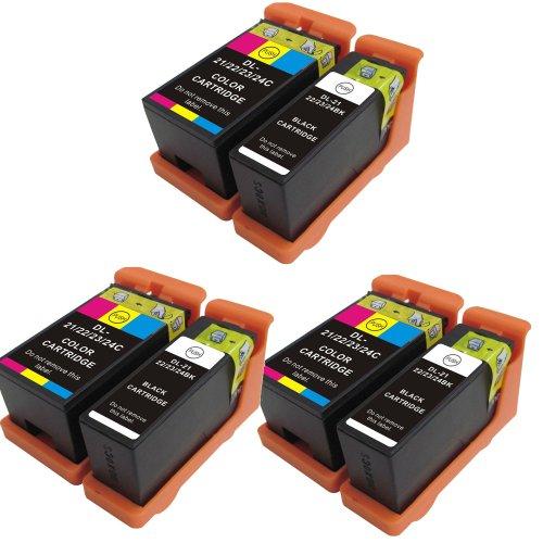 6 ( 3 Set) Series 21 Colour Direct Kompatibel Druckerpatronen Ersatz für Dell alle-In-One P513w P713w V313 V313w V515w V715w 3 Schwarz & 3 Color
