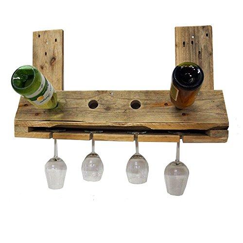 Palettenmöbel Flaschenregal Weinregal 'Shoot' für 4 Flaschen und 4 Gläser aus recycelten Palettenholz - Jedes Stück ein Unikat aus echter Handarbeit Made in Germany