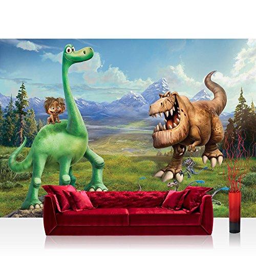 Papel Pintado Fotográfico Premium Plus pared Foto pintado mural pintado de Disney–Papel pintado Arlo & Spot dinosaurios dibujos animados Ilustración verde–No. 1761, verde, Fototapete 368x254cm | PREMIUM Blue Back