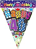 Birthday Party Decorations - Bunting Happy 40th Birthday Party Flags