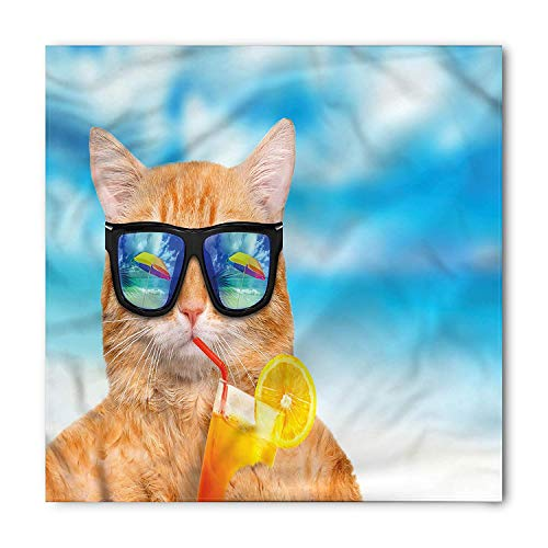 BBABYY Funny Bandana, Cat with Glasses and Cocktail, Unisex Head and Neck Tie M100*100CM Monogram Cocktail