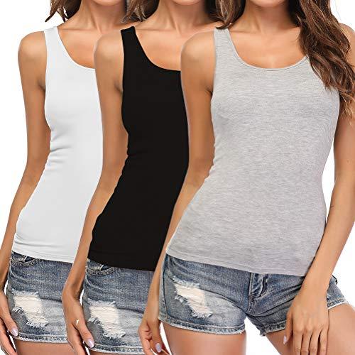 SLIMBELLE Damen BH-Hemd Unterhemd mit Unsichtbarer BH ohne Bügel Rundhals Basic Tank Tops Grau Schwarz Weiß 3er Pack für Cup A-C L -