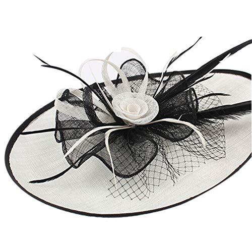 t Blume Flachs Mesh Bänder Federn auf einem Stirnband und einem Clip Tea Party Headwear für Mädchen und Frauen,White ()