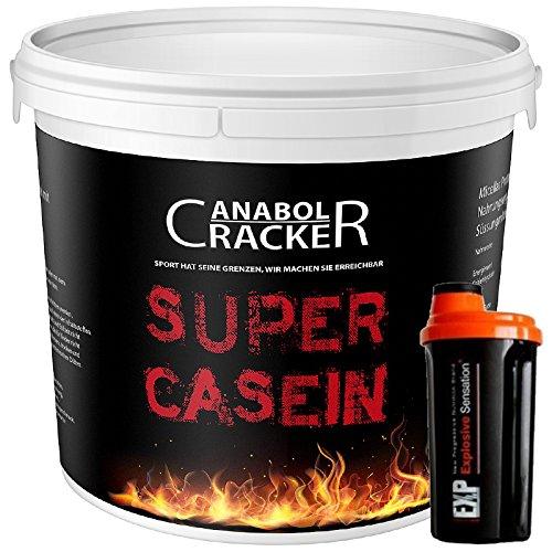 Super Casein, Eiweißpulver, 700g Eimer, Schoko oder Vanille Geschmack, Glutamin, 100% reines Milch Protein + Shaker (Vanille)