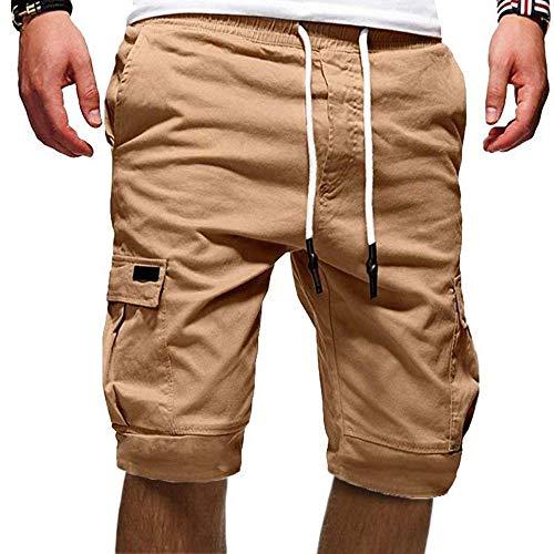Cindeyar Herren Cargo Hose Shorts Sommer Bermuda Kurze Hose Chino Jogger Hose(Khaki.3XL)
