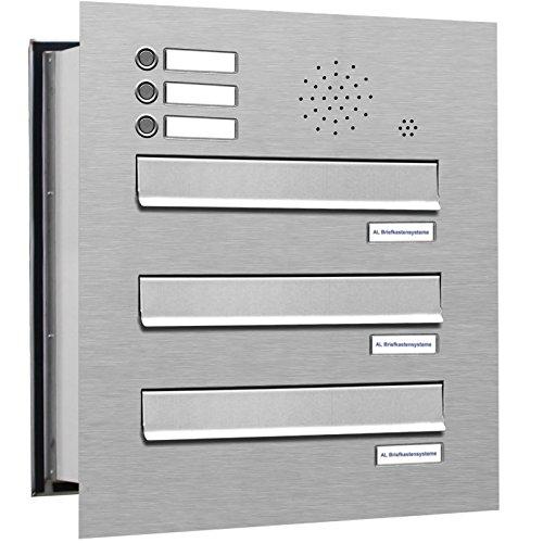 3er Premium Briefkasten Mauerdurchwurf in V2A Edelstahl mit Klingel rostfrei wetterfest als 3 Fach Durchwurfbriefkasten DIN A4 in Postkasten Design modern