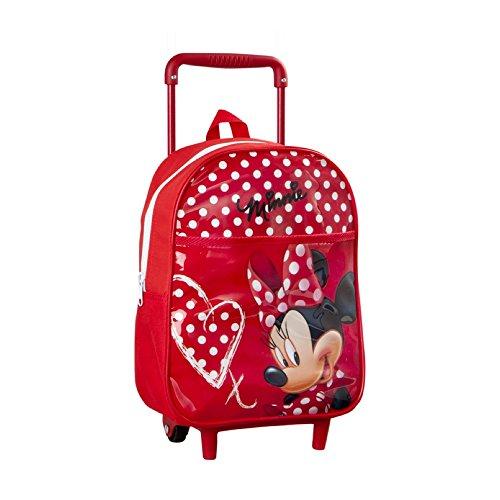 Disney - Sac a dos enfant avec Roulettes rouge Minnie Mouse - 28x22 cm - Ecole et Loisirs