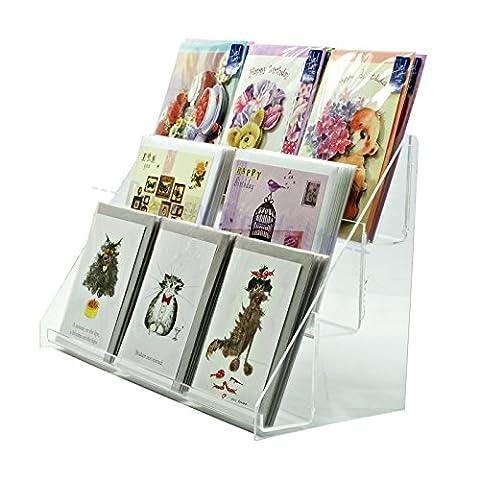 Acrylique Transparent 3étages support de carte de vœux pour vente au détail les comptoirs de l'affichage (Ds43/400)