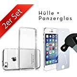 Movoja 2in1 Set: [iPhone 5/5S Schutzhülle + Panzerglas] iPhone 5 / 5S Huelle & iPhone 5 / 5S Panzerglas Schutzfolie Gorilla Glas mit 3D Force Touch Glass Displayschutz Screen Protector Crystal-Case Silikon-Case TPU Transparent Klar Cover Apple Case