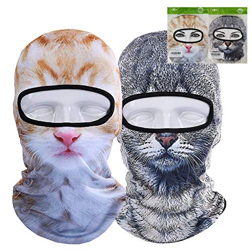 RAINSGIFT Sci Passamontagna 3D Animale Maschera Viso Uomo Donna Inverno Sport all'Aria Aperta Snowboard Cycling Balaclava Cappelli (2PCS/Pack(Grey Cat+Yellow Cat))