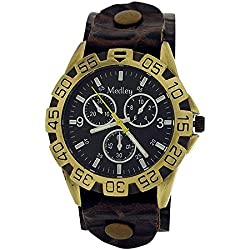Medley Gents Analogue Beige Dial Wide Brown Croc Leather Cuff Strap Watch MED14