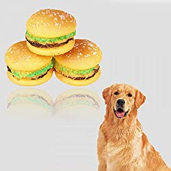 Takestop® Juego 3piezas Juguete Panino hamburguesas goma sonido stridulo Toy Squeaky resistente de Playgirl para perros mascotas
