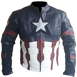 classyak moda Hombre de Capitán Real piel Ultron alta calidad chaqueta Azul Cow Blue Medium