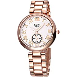 GEDI Beauty Quartz Womens Watch with Roman Number Scale (Rose gold White)