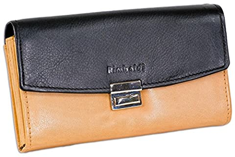 Rimbaldi - professional waiter-wallet with extra strong large coin case made of soft, untreated calf leather in Black/Tan