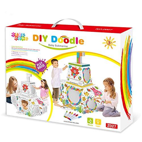 Leo & Emma Doodle Spielhaus DIY Zeichnen Kunst Bastelset für Kinder Pappe Spielhaus Malhaus zum Bemalen und Dekorieren inkl. Stifte (U-Boot)