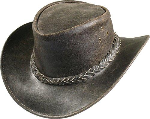 Lederhut braun im Vintage Look, Farben:dunkelbraun, Kopfgröße:L
