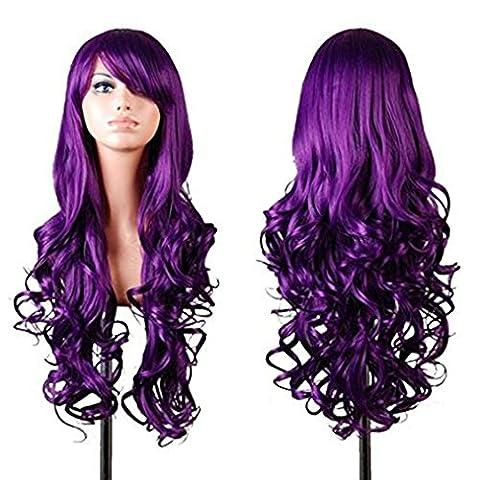 Stillshine 80cm perruque Long bouclés ondulés perruque cosplay costume Cheveux Femme lampées cosplay perruque pour nos perruques de costume (Violet