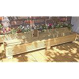 Maceta Deck Box 120 cm hecho a mano cajas de madera, (tratada a presión maceteros de madera Un Jardín Macetas de madera con un acabado natural