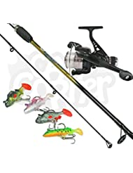 Spinner Fishing Set up Complete With 6ft 2PC Rod & Reel And 4 Soft Rubber Lures Made By NGT