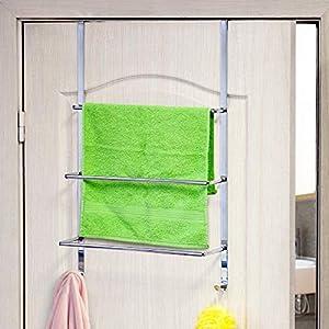 mDesign Handtuchhalter ohne Bohren montierbar Handtuchhalter T/ür-Befestigung einfach einzuh/ängen als Duschhandtuchhalter aus robustem Edelstahl Badetuchhalter /& f/ür Kleidung