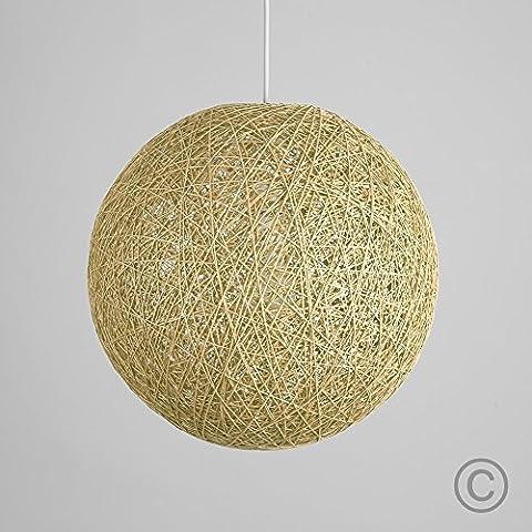 Modern Medium Cream Lattice Wicker Rattan Globe Ball Style Ceiling Pendant Light Lampshade