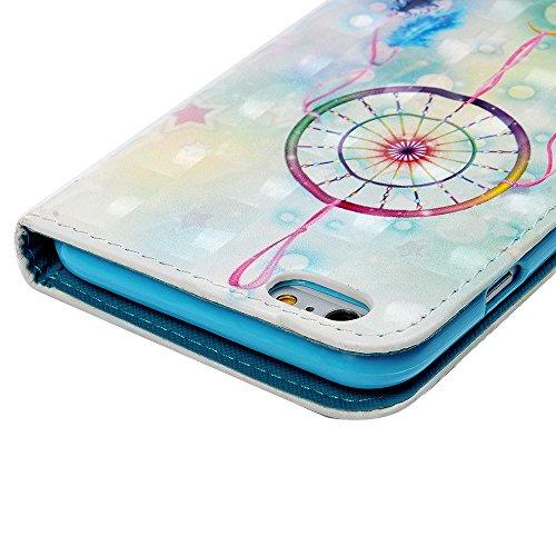 MAXFE.CO Lederhülle Case Schutz für iPhone 6 6S PU + TPU Innere Etui Schale Backcover Brieftasche 3D Design Blumen Flip Cover mit Kartenfächer Magnetverschluß Standfunktion Traumfänger