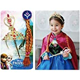Fancy steps Accessories frozen elsa Anna (Crown + Hair Band + Frozen Wand and Gloves) Birthday Gift christmas xmas