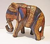 Shabby Chic Figur, Elefant, aus Holz, Fair Trade, 18 cm hoch