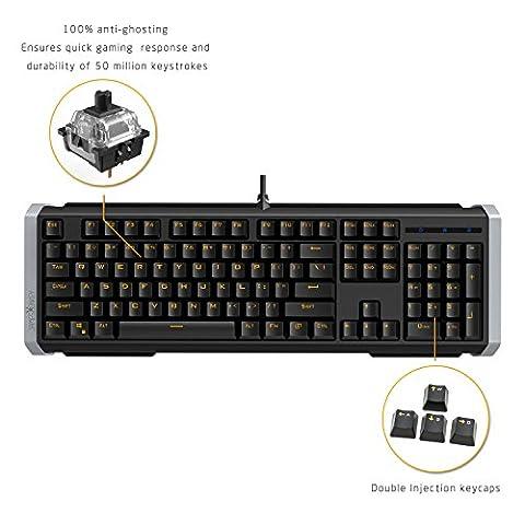 James Donkey 612 Hintergrundbeleuchtung Gaming Tastatur 104 Tasten LED USB Kabel Multimedia Tastenkombination Multi-Funktion Keyboard für PC Laptop (QWERTY englisches Tastaturlayout) - 612 schwarz+schwarz Schalter